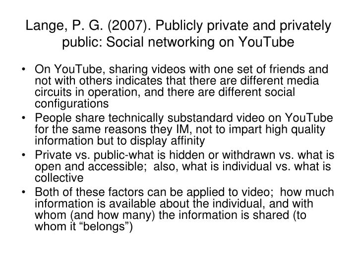 Lange, P. G. (2007). Publicly private and privately public: Social networking on YouTube