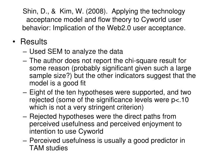 Shin, D., &  Kim, W. (2008).  Applying the technology acceptance model and flow theory to Cyworld user behavior: Implication of the Web2.0 user acceptance.