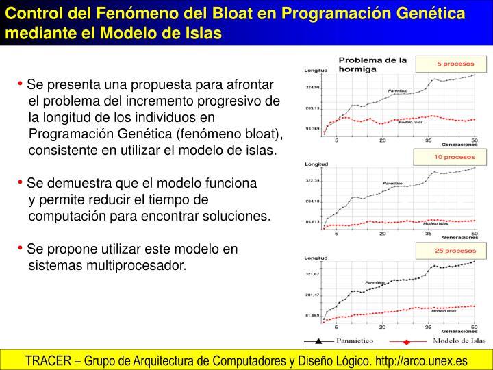 Control del Fenómeno del Bloat en Programación Genética mediante el Modelo de Islas