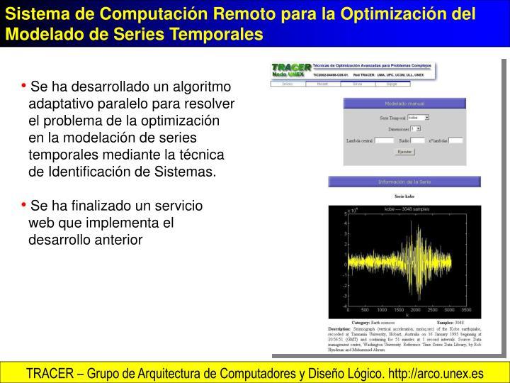 Sistema de Computación Remoto para la Optimización del Modelado de Series Temporales