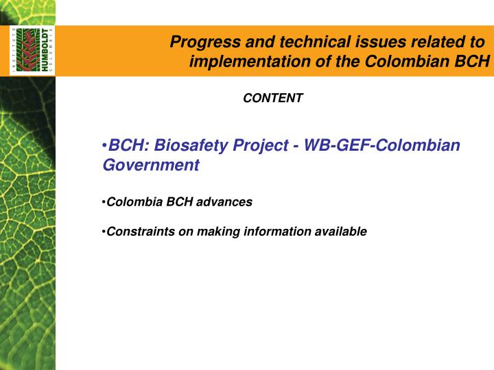 Progress and technical issues related to
