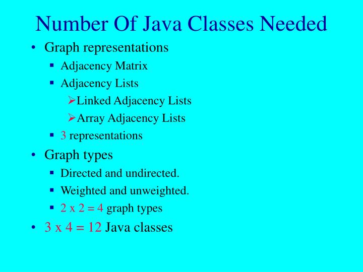 Number Of Java Classes Needed