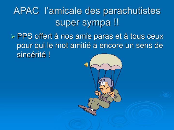 APAC  l'amicale des parachutistes