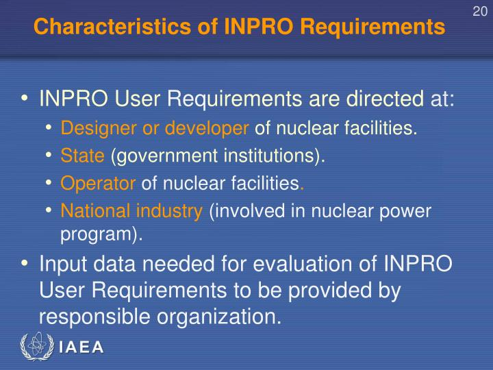 Characteristics of INPRO Requirements