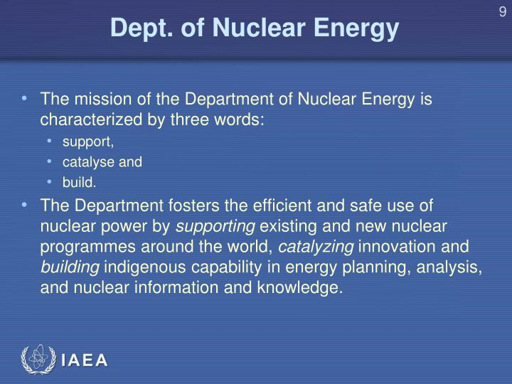 Dept. of Nuclear Energy