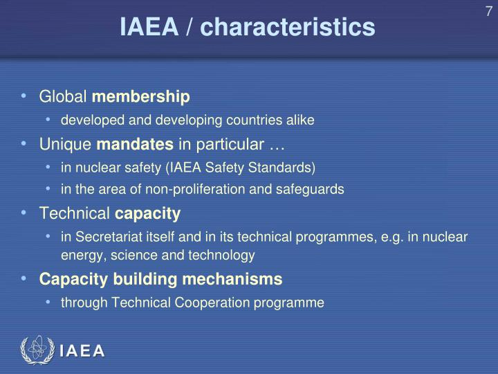 IAEA / characteristics
