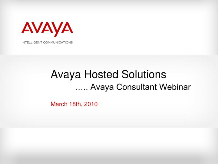 Avaya Hosted Solutions