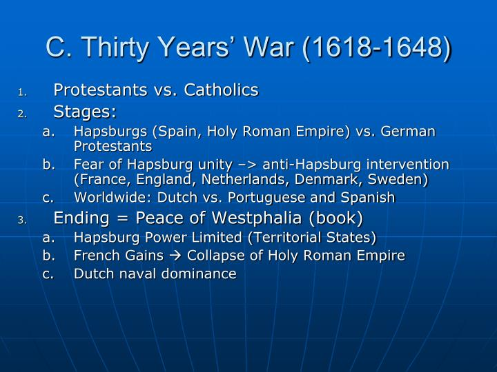 C. Thirty Years' War (1618-1648)