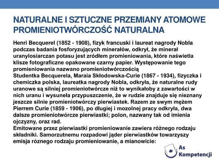 Naturalne i sztuczne przemiany atomowe