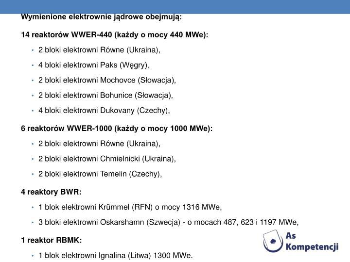 Wymienione elektrownie jądrowe obejmują:
