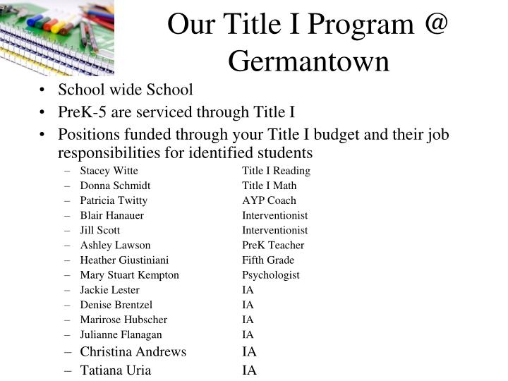 Our Title I Program @ Germantown