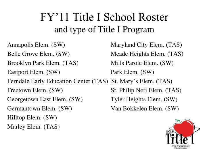 FY'11 Title I School Roster