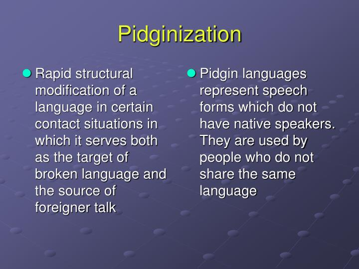 Rapid structural modification of a language in certain contact situations in which it serves both as the target of broken language and the source of foreigner talk