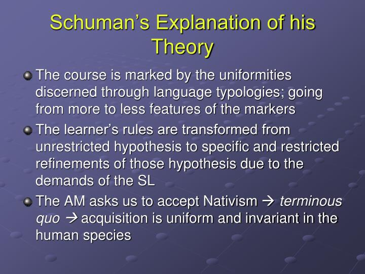 Schuman's Explanation of his Theory