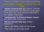 types of pidgins classified according to the social situation in which they are used3
