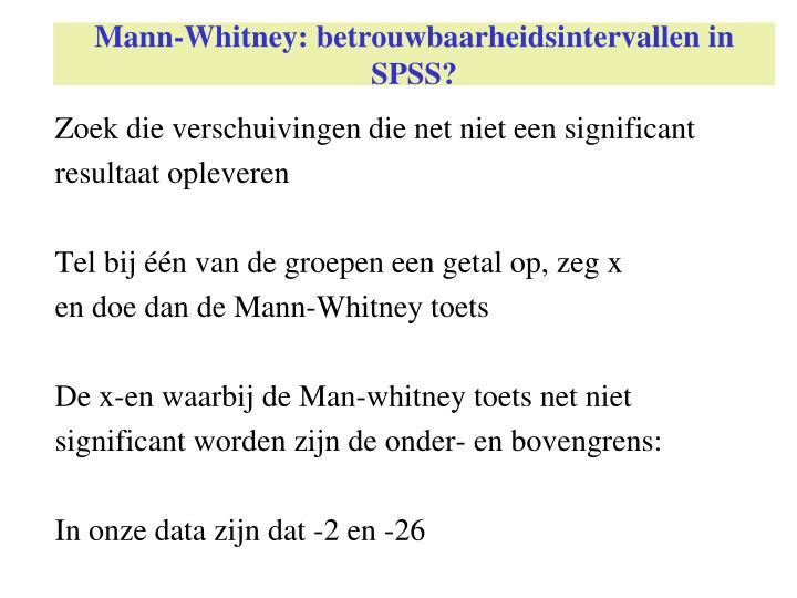 Mann-Whitney: betrouwbaarheidsintervallen in SPSS?