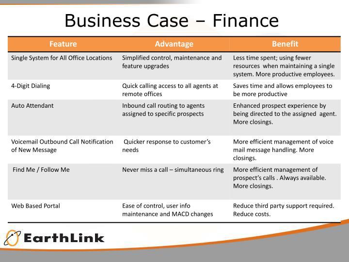 Business Case – Finance