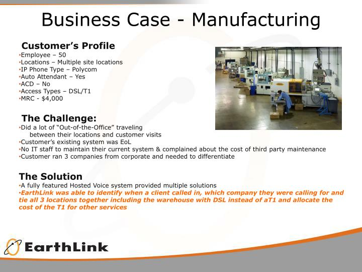 Business Case - Manufacturing