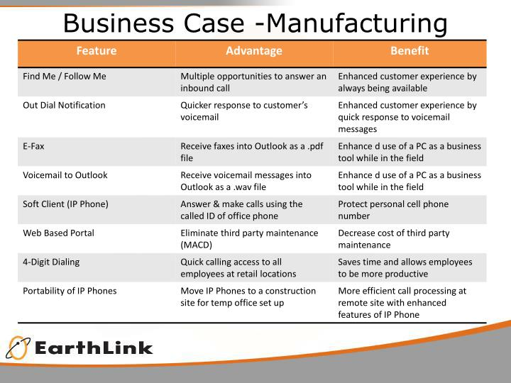 Business Case -Manufacturing