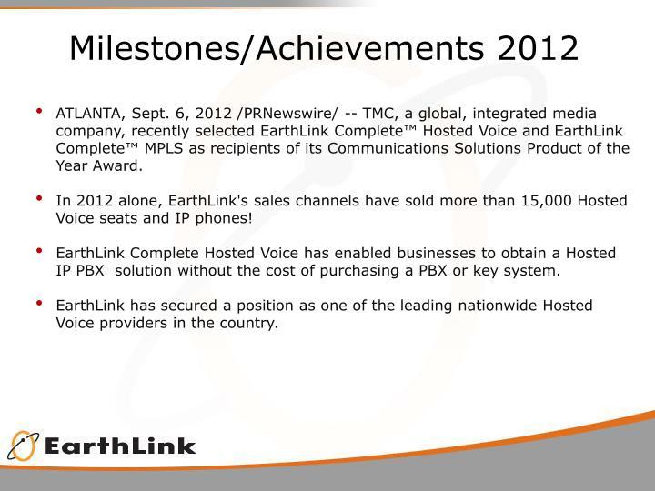 Milestones/Achievements 2012