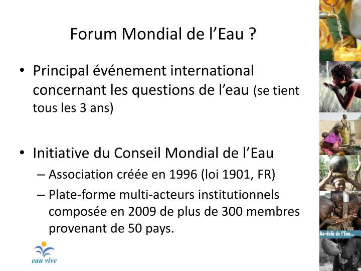 Forum Mondial de l'Eau ?