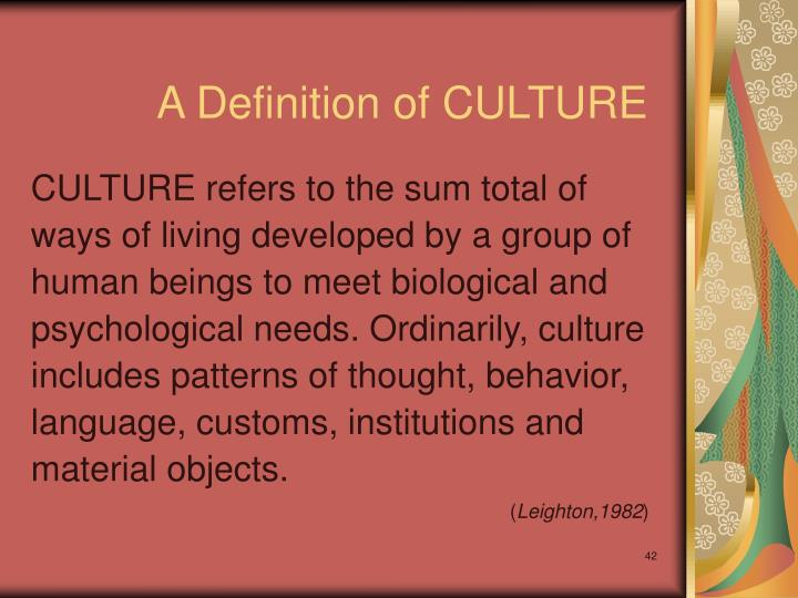 A Definition of CULTURE