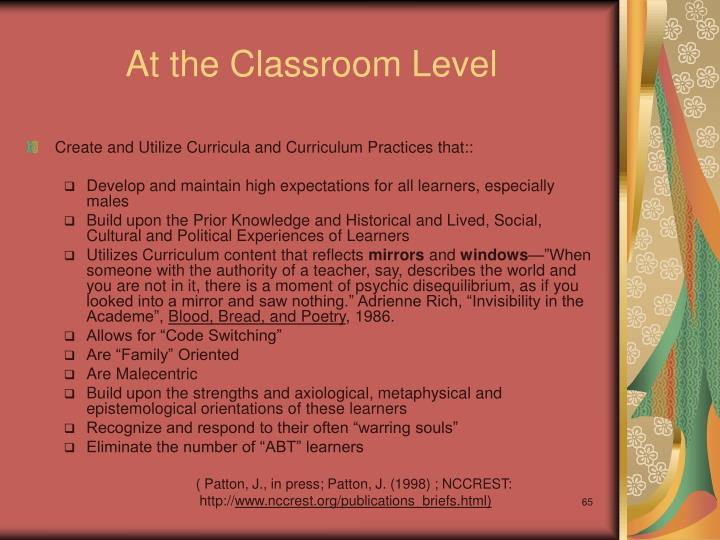 At the Classroom Level