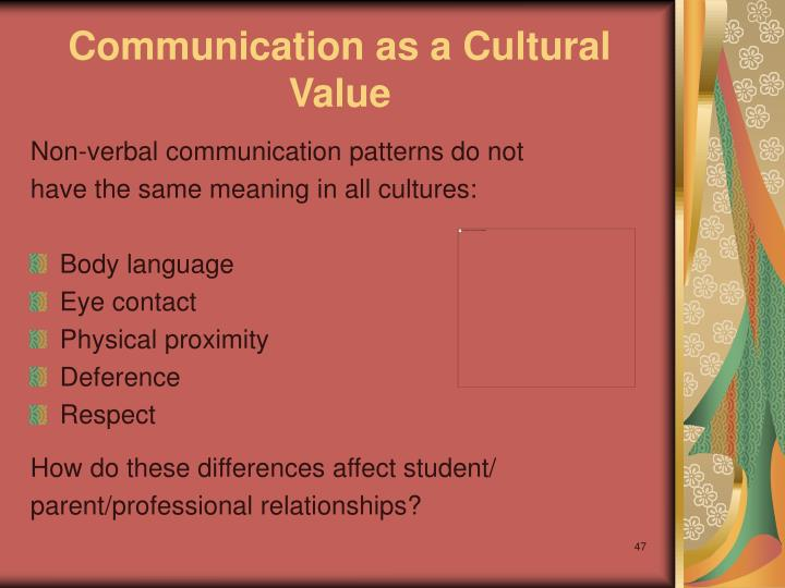 Communication as a Cultural Value