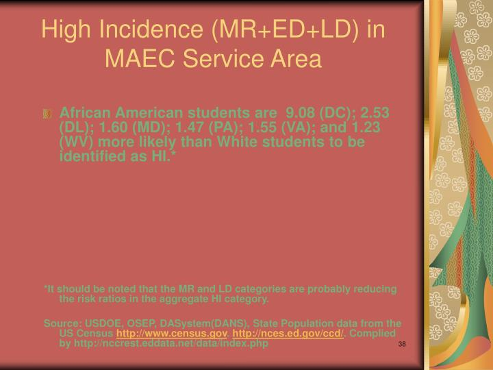 High Incidence (MR+ED+LD) in MAEC Service Area