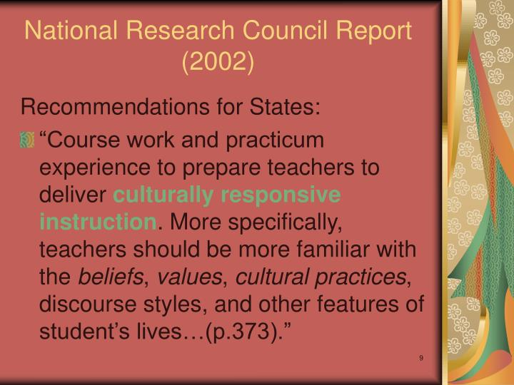 National Research Council Report (2002)