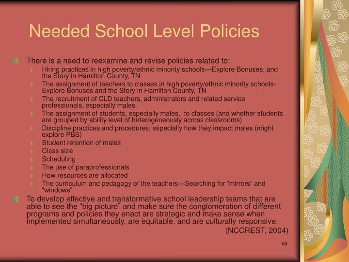 Needed School Level Policies
