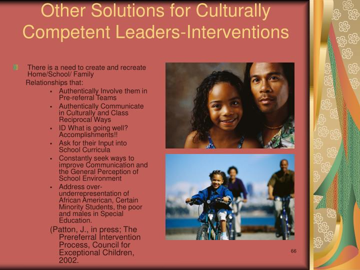 Other Solutions for Culturally Competent Leaders-Interventions