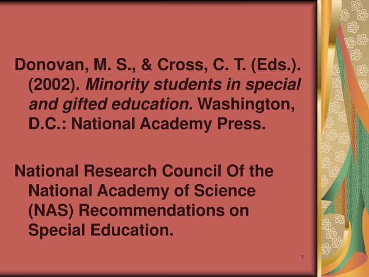 Donovan, M. S., & Cross, C. T. (Eds.). (2002).
