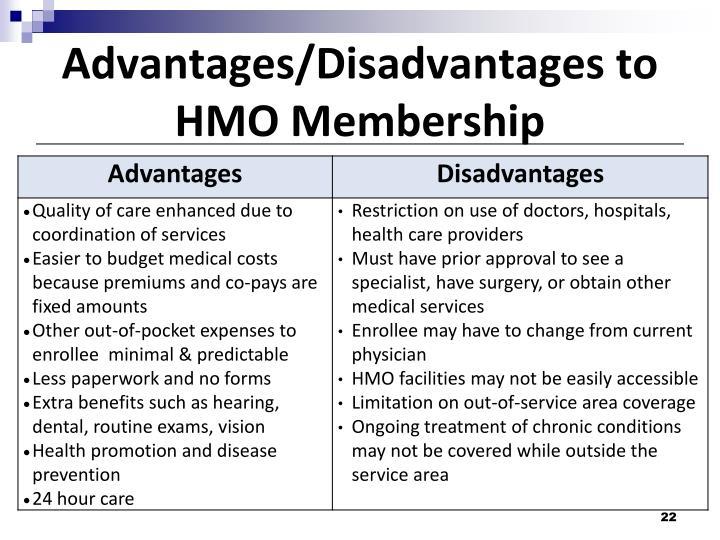 Advantages/Disadvantages to HMO Membership