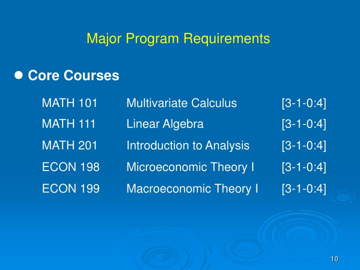 Major Program Requirements