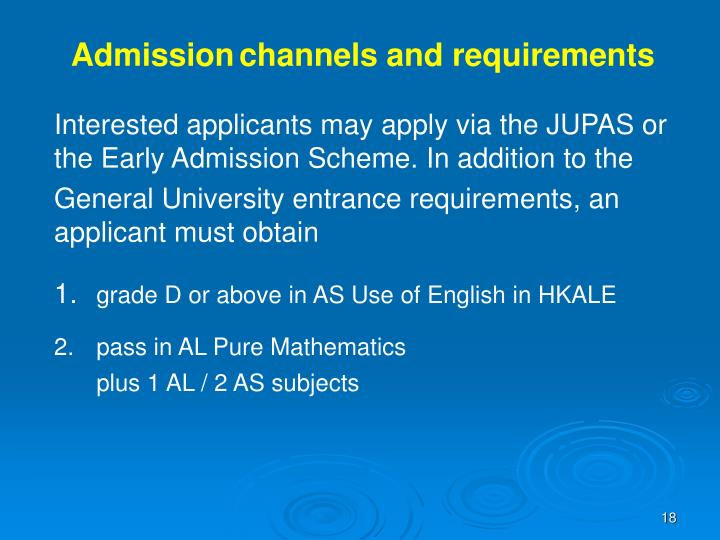 Admission	channels and requirements