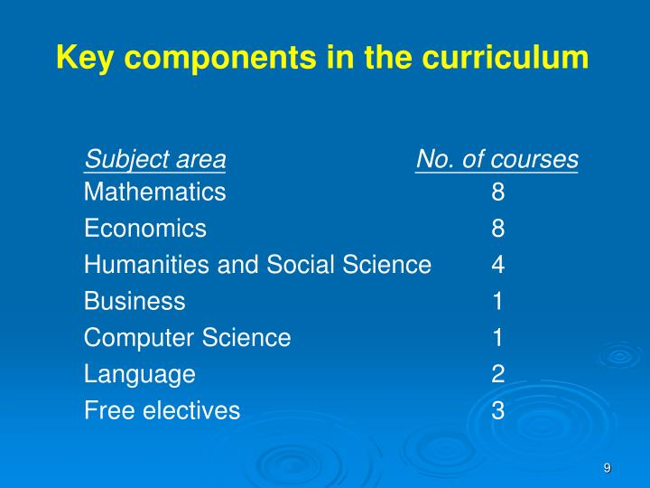 Key components in the curriculum