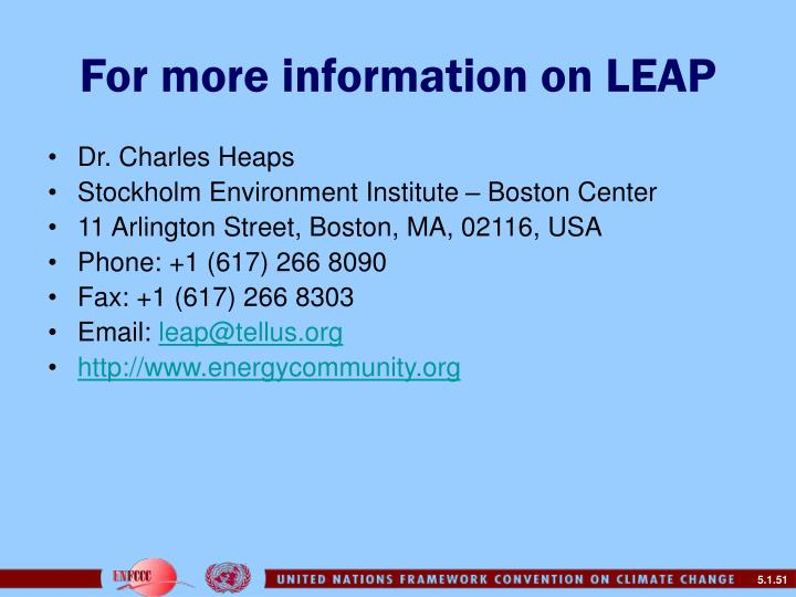 For more information on LEAP