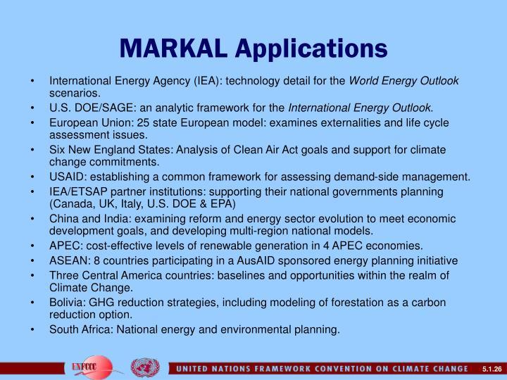 MARKAL Applications