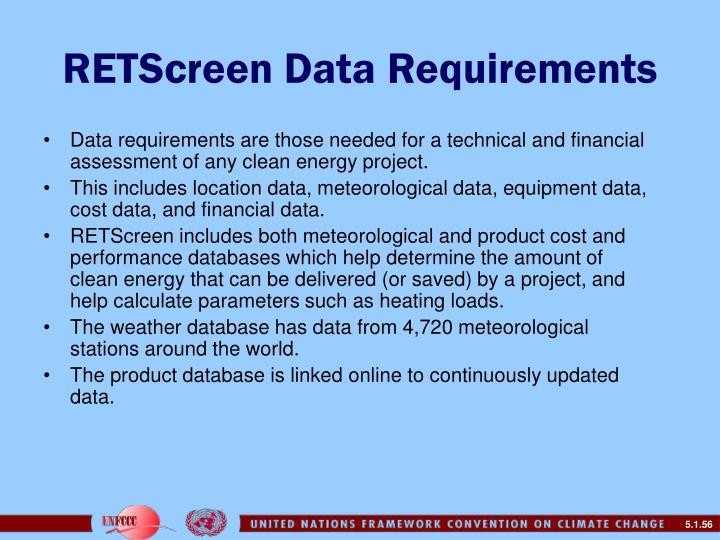 RETScreen Data Requirements