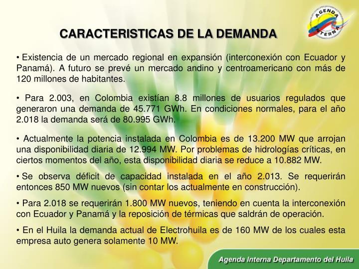 CARACTERISTICAS DE LA DEMANDA