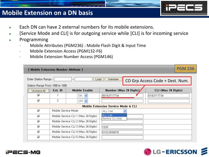 Mobile Extension on a DN basis