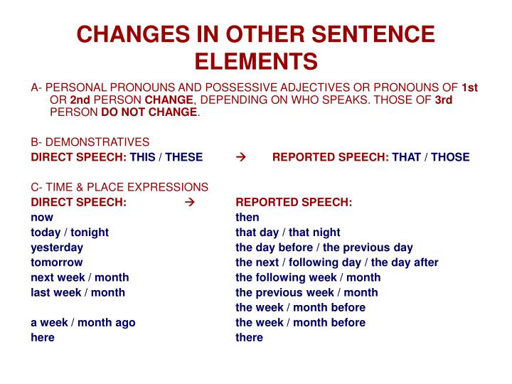 CHANGES IN OTHER SENTENCE ELEMENTS