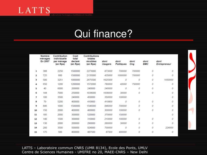 Qui finance?