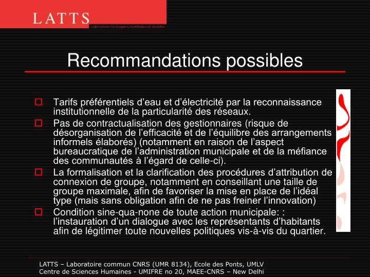 Recommandations possibles