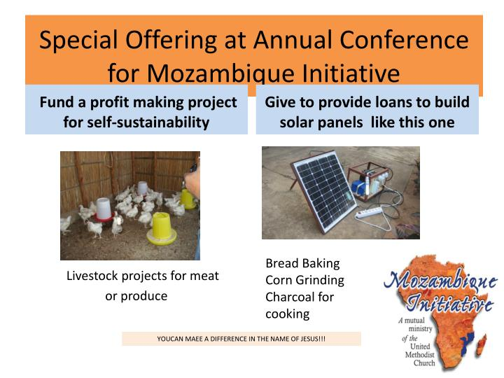 Special Offering at Annual Conference for Mozambique Initiative