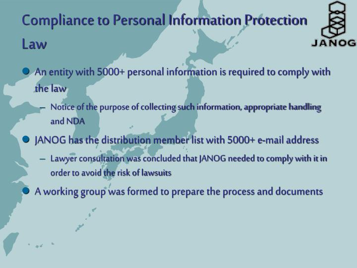 Compliance to Personal Information Protection Law