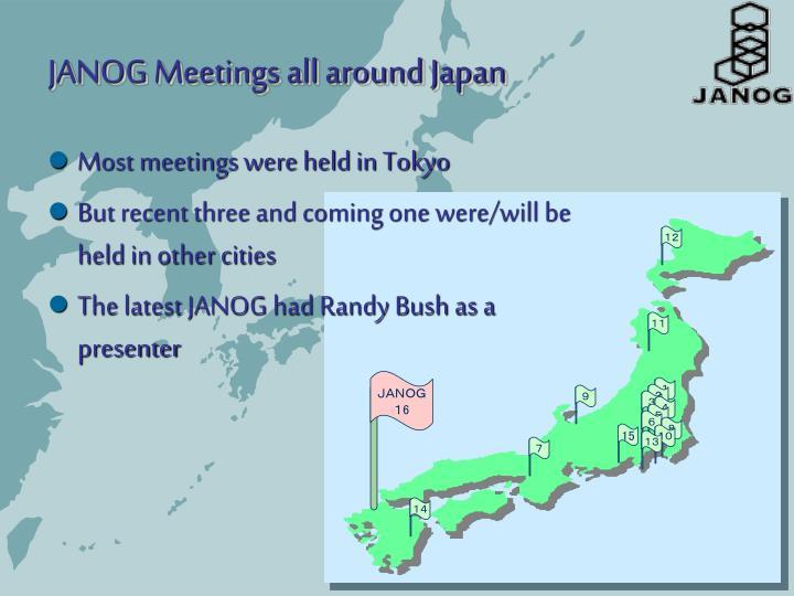 Most meetings were held in Tokyo