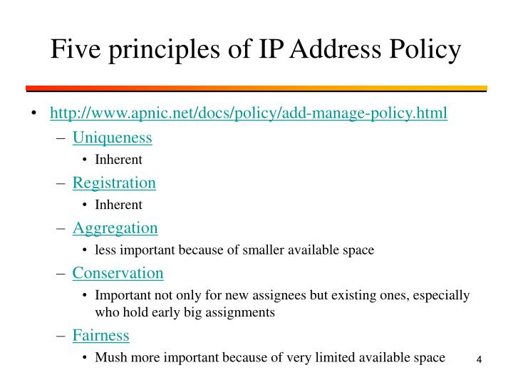 Five principles of IP Address Policy