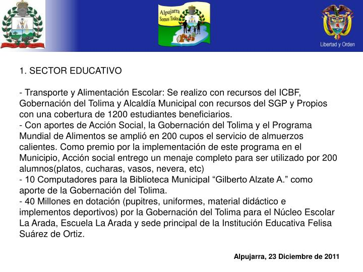 1. SECTOR EDUCATIVO